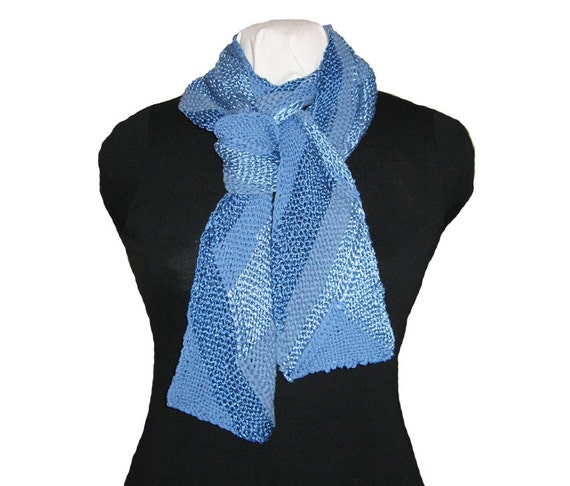Knitting Pattern For Multi Directional Scarf : Hand Knit Scarf Multi Directional Ribbon Design Reversible