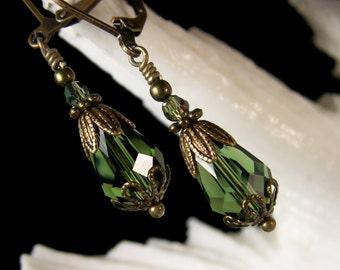Dark Forest Sage Green Teardrop Crystal Victorian Earrings Antiqued Gold Bronze Filigree Titanic Temptations Vintage Bridal Style Jewelry