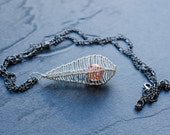 Necklace Pendant Drop Cage in Warm Silver and Coral