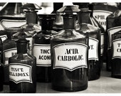 French Apothecary Bottles - black and white, pharmacy bottles, old-fashioned, antique, medicine, bathroom decor, 8x12+ Original Photography
