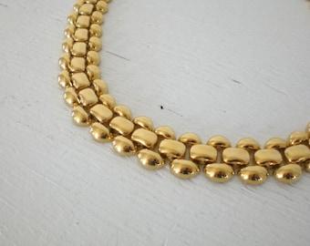 Vintage Napier Gold Tone Necklace 1980's Link Necklace Mid Century Costume Jewelry GallivantsVintage