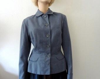 1940s-50s Suit Coat / vintage wool jacket / form fitting blazer