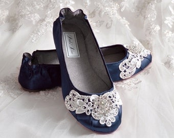 Navy Blue Wedding Shoes - Ballet Flats, 250 Colors, Vintage Lace, Swarovski Crystals, Belle-Women's Bridal Shoes