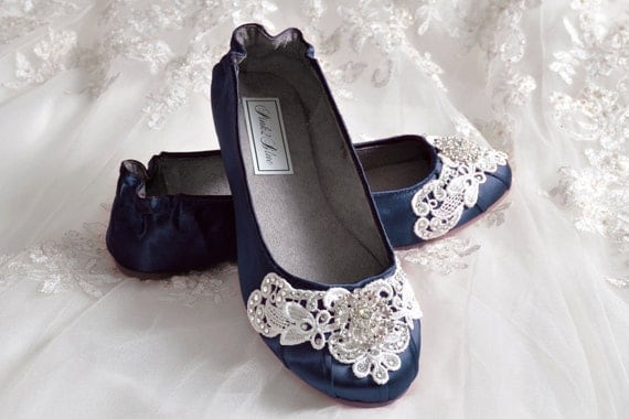 navy blue wedding shoes ballet flats 250 colors vintage