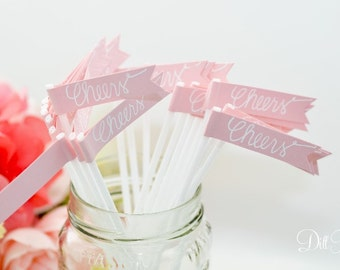 25 Blush Pink Flags with Calligraphy Stir Sticks or Drink Stirrers