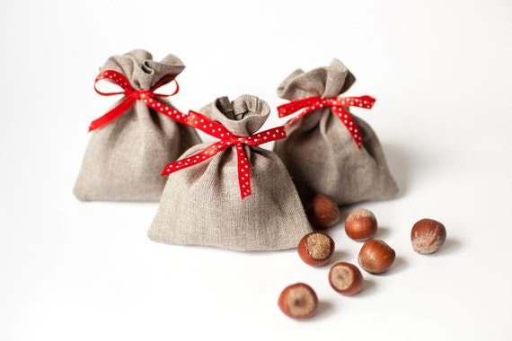 Wedding Favors Small 10 Linen Gift Bags Rustic By PetitDeLin