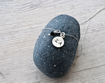 Personalized Initials Unisex Necklace, Custom Monogram Silver Round Charm and Black Lava Rock Charm, Greek Letters, Personalized Gift