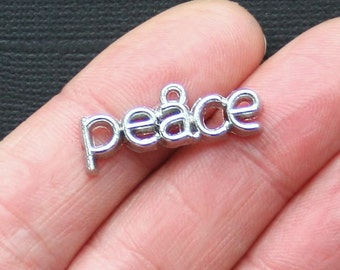 5 Peace Charms Antique  Silver Tone Just Beautiful - SC2938