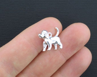 5 Dog Charms Silver Plated Puppy 3D - SC3362