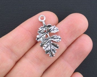 6 Leaf Charms Antique Silver Tone 2 Sided - SC1636