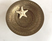 SALE Vintage Brass Compote Dish - Etched Floral Design - Made in India
