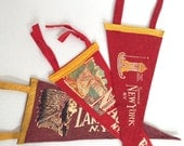 Vintage Pennant Banner - Mini Felt Pennant Banner / Graphic / 1930s-50s Travel Souvenir New York