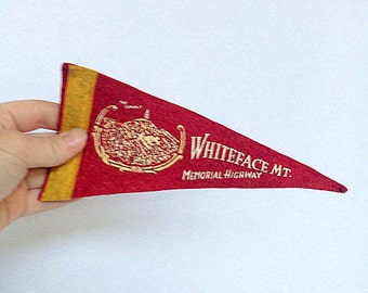 Vintage Pennant Banner - Mini Felt Pennant Banner / Graphic Wall Hanging / 1960s / Whiteface Mt. NY Memorial Highway