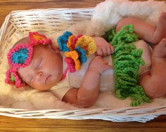 Hula Girl Outfit fits 0 to 3 months, Crochet grass skirt, flower headband, and lei, Baby Shower Gift, Newborn Photo Prop, Hawaiian Hula Girl