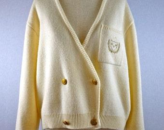 Ivory and Gold Collegiate Blazer Cardigan Sweater