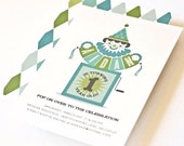 Boy Birthday Party Invitation, Custom Party Invitation, Blue Green // Jack-in-the-Box