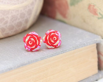 Flower Stud Earrings Tiny Red Rose Studs Metallic Shimmer Earrings Surgical Steel Posts Nickel Free Cute Floral Earrings Red Flower Stud