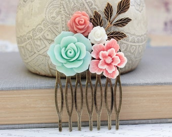 Flower Collage Comb Floral Hair Accessories Shabby Chic Wedding Bridal Coral Pink Rose White Rose Mint Aqua Antique Gold Brass Leaf Leaves