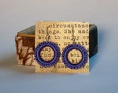 Blue Crocheted Hoop Dangle Earrings