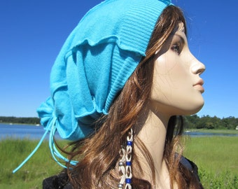 Cashmere Hat Super Slouchy Beanie Baggy Tie Back Turquoise Blue Tam Bohemian Clothing for Women A1059