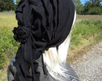 Ladies Fashion Hats Solid Black Slouch Beanies Cashmere Blend Rose Back A1444
