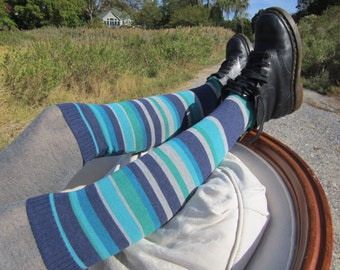 Striped Boot Socks Leg Warmers Blue Turquoise Stripe Footless Cotton Sock A1510