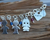 Mom Bracelet- Sterling Silver Charms & Birthstones- Personalized -Stamp Kids Names, Grandkids, Children, Grandchildren - Nana/Mom Heart