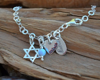 Bat-Mitzvah Bracelet with Star of David , Birthstone & Personalized Charm - Stamped Names in Hebrew or English - Judaica Jewelry,Hanukkah