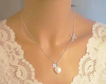 Personalized Initial Sideways Cross Necklace,  Freshwater Coin Pearl, Sterling Silver Sideways Cross Necklace, Mother Child Necklace