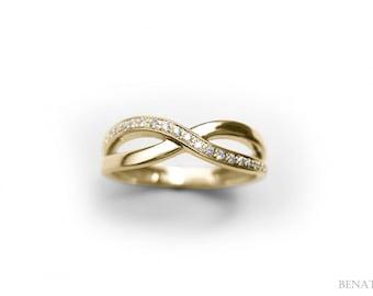 Diamond Knot Ring, Infinity Knot Ring, Yellow Gold Infinity Knot Diamond Ring, Yellow Gold Engagement Ring, Diamond Infinity Ring On Sale