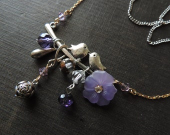 Found Objects Necklace - Spring's Purple Birds Assemblage - Silver and Gold Mixed Materials Jewelry