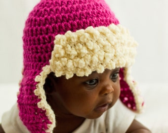 Crochet Hat Pattern, Aviator Hat Crochet Pattern, Crochet Ear Flap Hat Pattern, Baby Hat Pattern, Newborn Hat Pattern, Aviator Hat