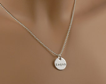 """Hand Stamped Necklace - 1/2"""" disc - Personalized Jewelry - one half inch charm with name or design"""