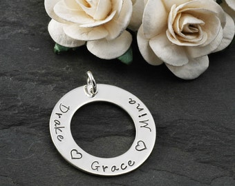 Add a Charm - 1 inch sterling silver washer - Your own words or names