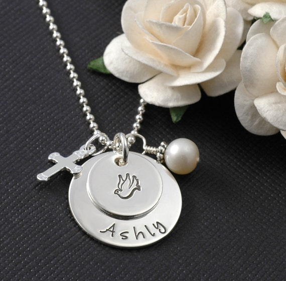 Personalized Baptism Christening Confirmation Necklace with Cross and Pearl Charms