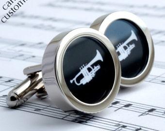 Trumpet Cufflinks in Black and White Silhouette Brass Band Cufflinks PC259