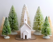 DIY Putz Church Ornament Kit Christmas Decoration Glitter House Paper Craft Kit