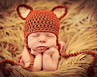Newborn Photo Prop Baby Fox Hat