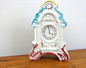 Miniature Vintage Porcelain Clock Figurine