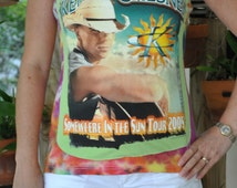 Kenny Chesney Somewhere in the sun Concert tour 2005 Tie Dyed strapless tube top UPCYCLED Cotton T Shirt L - XL