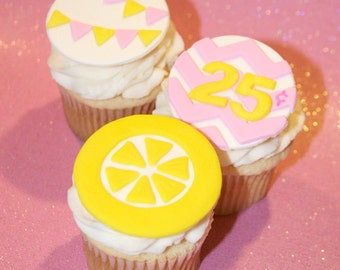 Fondant cupcake toppers Lemonade Stand Party , Lemon Pennant Banner