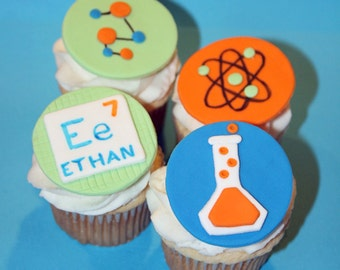 Fondant cupcake toppers Science themed birthday party