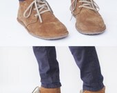 Lion in Tan Suede -  Men's Handmade Leather lace-up boots - CUSTOM FIT