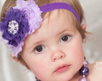 Baby headband,Baby Headbands, Purple headband,lavender baby headband, girls headband,newborn headband,shabby chic headband,Baby Hair Bows.
