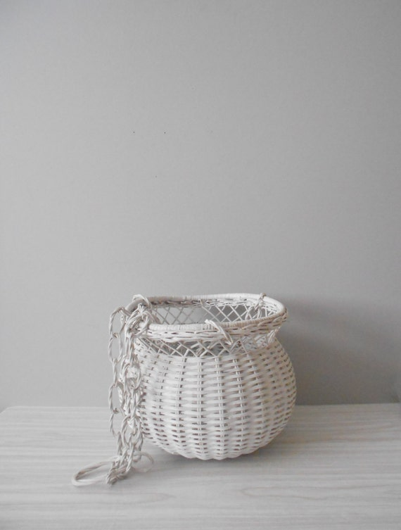 Rattan Flower Baskets : Large hanging white wicker basket flower cottage