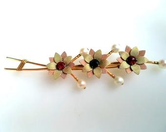 Vintage Van Dell Co. 12K GF Rhinestones Genuine Pearls Flower Brooch
