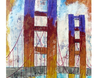 SAN FRANCISCO, FREEDOM, Golden Gate Bridge,Fantasy Color over the Golden Pass,Original Artist Print Wall Art,Free Shipping in United States.
