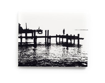 Chesapeake Bay Canvas (11 x 14 inches, White with Black) Black and White Maryland Beach House Decor - Nautical Art