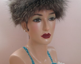 1960's Fur Hat Silver Fox,  Genuine with Tags