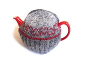 Heart Tea Cosy , valentines day , kitchen decor , valentine gift , lovers romantic , hand knit in Grey with red fair isle heart pattern